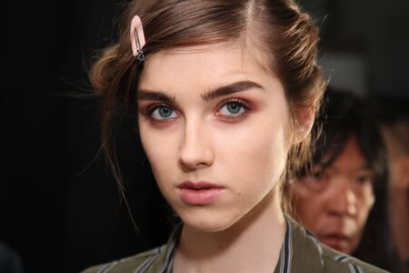NEW YORK, NY - SEPTEMBER 07: A model posing backstage before the Brock Collection fashion show during New York Fashion Week on September 7, 2017 in New York City. Editorial
