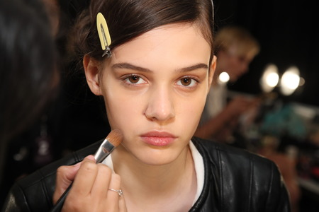 NEW YORK, NY - SEPTEMBER 07: A model getting ready backstage before the Brock Collection fashion show during New York Fashion Week on September 7, 2017 in New York City.