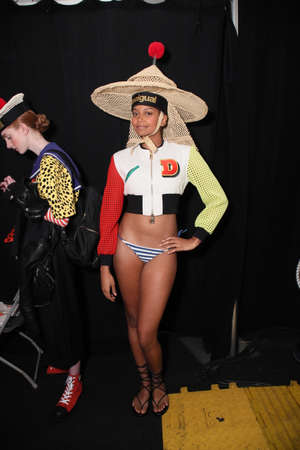 NEW YORK, NY - SEPTEMBER 07: A model posing backstage before the Desigual fashion show during New York Fashion Week on September 7, 2017 in New York City. Imagens - 86350762