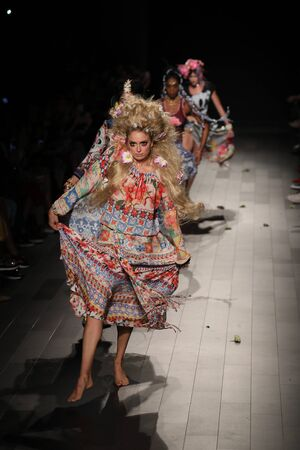 NEW YORK, NY - SEPTEMBER 07: Models walk the runway for Desigual fashion show during New York Fashion Week on September 7, 2017 in New York City.