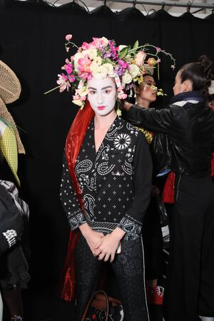 NEW YORK, NY - SEPTEMBER 07: A model posing backstage before the Desigual fashion show during New York Fashion Week on September 7, 2017 in New York City. Editorial