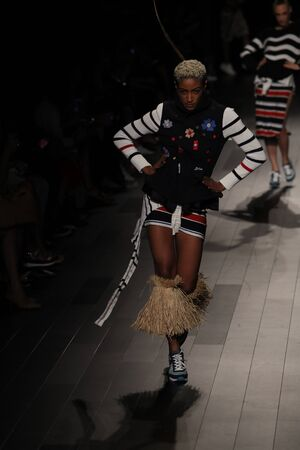 NEW YORK, NY - SEPTEMBER 07: A model walks the runway for Desigual fashion show during New York Fashion Week on September 7, 2017 in New York City. Imagens - 86351465