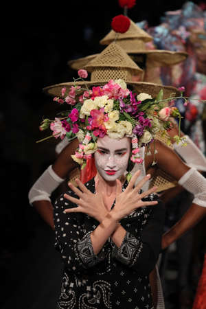 NEW YORK, NY - SEPTEMBER 07: Models walk the runway finale for Desigual fashion show during New York Fashion Week on September 7, 2017 in New York City. Editorial