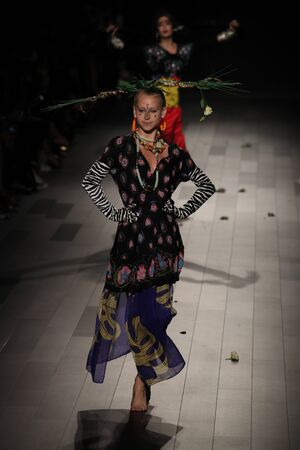 NEW YORK, NY - SEPTEMBER 07: A model walks the runway for Design fashion show during New York Fashion Week on September 7, 2017 in New York City. Editorial
