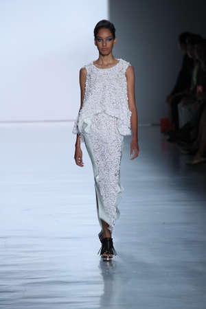 NEW YORK, NY - SEPTEMBER 09: A model walks the runway at the Son Jung Wan fashion show during New York Fashion Week on September 9, 2017 in New York City. Editorial