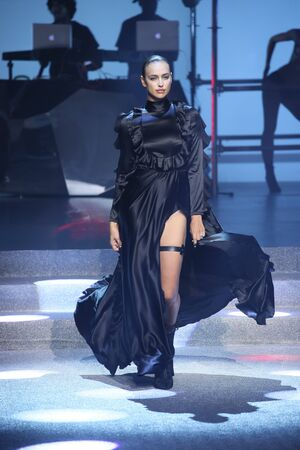 NEW YORK, NY - SEPTEMBER 09: Irina Shayk walks the runway at the Philipp Plein fashion show during New York Fashion Week: The Shows at Hammerstein Ballroom on September 9, 2017 in New York City.
