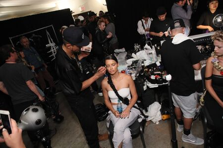NEW YORK, NY - SEPTEMBER 09: Adriana Lima getting ready backstage for the Philipp Plein fashion show during New York Fashion Week: The Shows at Hammerstein Ballroom on September 9, 2017 in New York City.