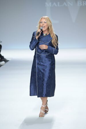 NEW YORK, NY - SEPTEMBER 07: Singer Kristine W performs at the Malan Breton SS18 during New York Fashion Week at Intrepid on September 7, 2017 in New York City.