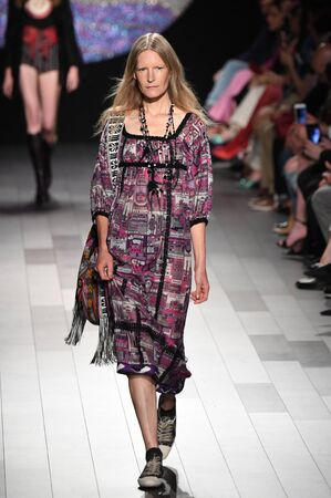 NEW YORK, NY - SEPTEMBER 11: A model walks the runway for Anna Sui fashion show during New York Fashion Week: The Shows at Gallery 1, Skylight Clarkson Sq on September 11, 2017 in New York City.