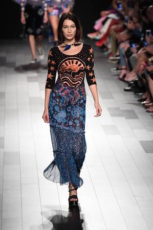 bella: NEW YORK, NY - SEPTEMBER 11: Bella Hadid walks the runway for Anna Sui fashion show during New York Fashion Week: The Shows at Gallery 1, Skylight Clarkson Sq on September 11, 2017 in New York City. Editorial