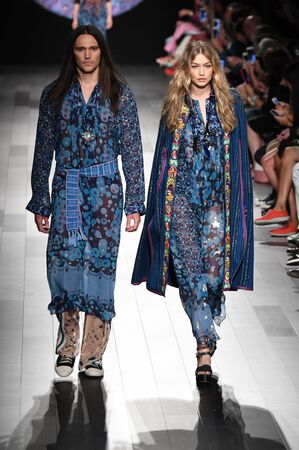 NEW YORK, NY - SEPTEMBER 11: Gigi Hadid walks the runway for Anna Sui fashion show during New York Fashion Week: The Shows at Gallery 1, Skylight Clarkson Sq on September 11, 2017 in New York City.