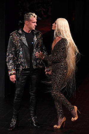 NEW YORK, NY - SEPTEMBER 12: David Blond and Phillippe Blond walk the runway for The Blonds fashion show during New York Fashion Week: The Shows at Gallery 1, Skylight Clarkson Sq on September 12, 2017 in New York City.