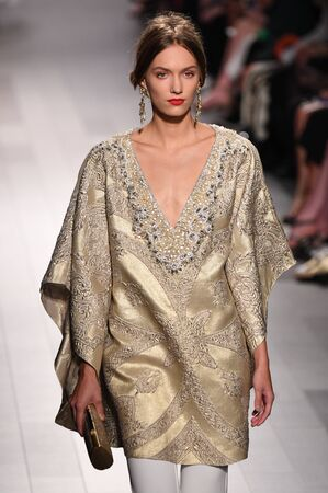 NEW YORK, NY - SEPTEMBER 12: A model walks the runway at the Badgley Mischka fashion show during New York Fashion Week: The Shows at Gallery 1, Skylight Clarkson Sq on September 12, 2017 in New York City.