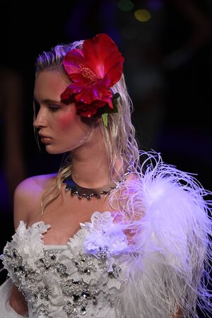 NEW YORK, NY - SEPTEMBER 12: A model walks the runway for The Blonds fashion show during New York Fashion Week: The Shows at Gallery 1, Skylight Clarkson Sq on September 12, 2017 in New York City.