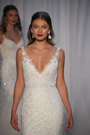 NEW YORK - OCTOBER 5: Models walk the runway finale for Anne Barge Bridal show FallWinter 2018 Collection during Bridal Fashion Week on October 5, 2017 in New York City.