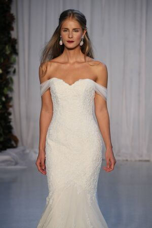 NEW YORK - OCTOBER 5: A Model walks the runway for Anne Barge Bridal show FallWinter 2018 Collection during Bridal Fashion Week on October 5, 2017 in New York City. Editorial