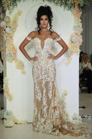 New York, NY, USA - October 7, 2017: A model walks the runway for Julie Vino Havana 2018 Bridal Collection runway show at 404 10th Avenue during New York Bridal week, New York City. Editorial