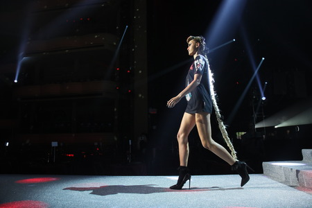 NEW YORK, NY - SEPTEMBER 09: A model walks the runway at the rehearsal before Philipp Plein fashion show during New York Fashion Week: The Shows at Hammerstein Ballroom on September 9, 2017 in New York City.