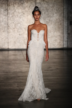 NEW YORK - OCTOBER 5: A Model walks the runway for Inbal Dror Bridal show FallWinter 2018 Collection during Bridal Fashion Week on October 5, 2017 in New York City.