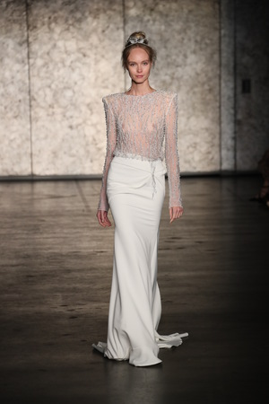 NEW YORK - OCTOBER 5: A Model walks the runway for Inbal Dror Bridal show Fall/Winter 2018 Collection during Bridal Fashion Week on October 5, 2017 in New York City.