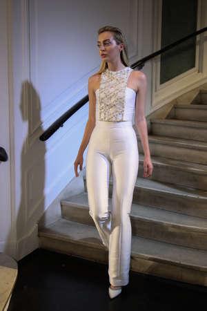 New York, NY, USA - October 6, 2017: A model walks the runway at the Lakum Bridal 2018 Collection runway show during New York Bridal week, New York City.