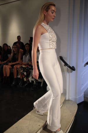 embellishment: New York, NY, USA - October 6, 2017: A model walks the runway at the Lakum Bridal 2018 Collection runway show during New York Bridal week, New York City.