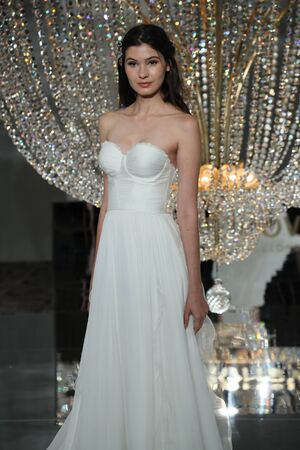 NEW YORK - OCTOBER 7: A model walks the runway for Pronovias   Bridal show FallWinter 2018 Collection during Bridal Fashion Week on October 7, 2017 in New York City. Editorial
