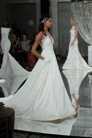 NEW YORK - OCTOBER 7: A model walks the runway for Pronovias   Bridal show FallWinter 2018 Collection during Bridal Fashion Week on October 7, 2017 in New York City. Editorial