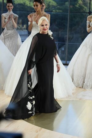 NEW YORK - OCTOBER 6: Designer Ines Di Santo greets the audience at Ines Di Santo Bridal show Fall/Winter 2018 Collection during Bridal Fashion Week on October 6, 2017 in New York City.
