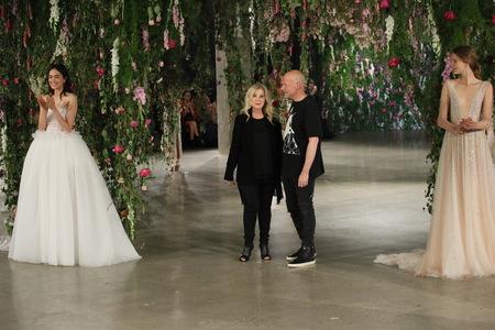 NEW YORK - OCTOBER 6: Designer Galia Lahav (L) and designer Sharon Sever(R) walk the runway for Galia Lahav Bridal show FallWinter 2018 Collection during Bridal Fashion Week on October 6, 2017 in New York City. Redakční
