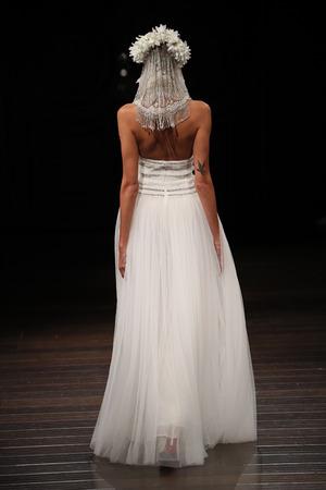 NEW YORK - OCTOBER 6: A model walks the runway for Naeem Khan  Bridal show FallWinter 2018 Collection during Bridal Fashion Week on October 6, 2017 in New York City. Editorial