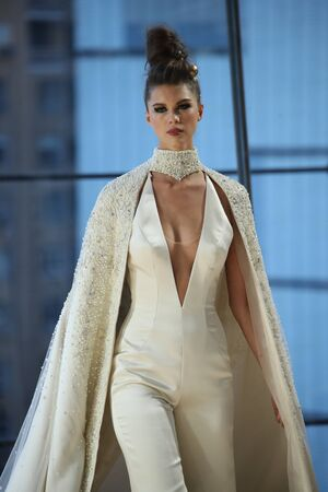 NEW YORK - OCTOBER 6: A model walks the runway for Ines Di Santo   Bridal show FallWinter 2018 Collection during Bridal Fashion Week on October 6, 2017 in New York City.