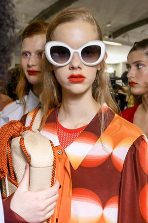 MILAN, ITALY - SEPTEMBER 22: A model is seen backstage ahead of the Marco De Vincenzo show during Milan Fashion Week SpringSummer 2018 on September 22, 2017 in Milan, Italy. Editorial