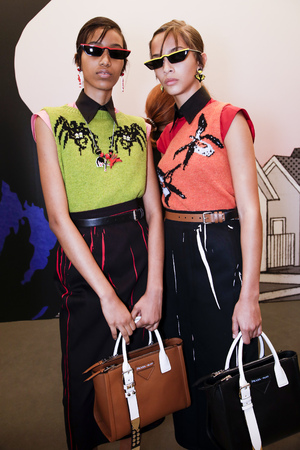 MILAN, ITALY - SEPTEMBER 21: Models are seen backstage before the Prada show during Milan Fashion Week SpringSummer 2018 on September 21, 2017 in Milan, Italy. Editorial