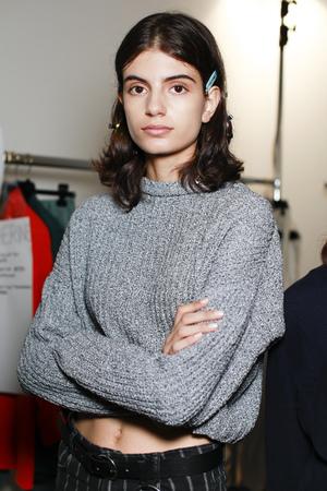 MILAN, ITALY - SEPTEMBER 21: A model posing  backstage before Erika Cavallini show during Milan Womens Fashion Week on SEPTEMBER 21, 2017 in Milan. Editorial