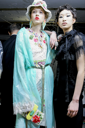 MILAN, ITALY - SEPTEMBER 23: Models are seen backstage ahead of the Antonio Marras show during Milan Fashion Week SpringSummer 2018 on September 23, 2017 in Milan, Italy. Editorial