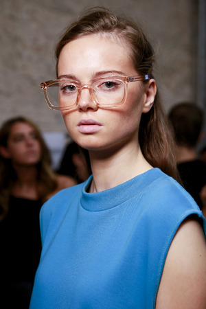 MILAN; ITALY - SEPTEMBER 24: A model is seen ahead backstage of the Au Jour Le Jour show during Milan Fashion Week SpringSummer 2018 on September 24; 2017 in Milan; Italy.