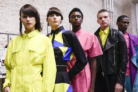 MILAN, ITALY - SEPTEMBER 20: Models are seen backstage ahead of the Atsushi Nakashima show during Milan Fashion Week SpringSummer 2018 on September 20, 2017 in Milan, Italy.