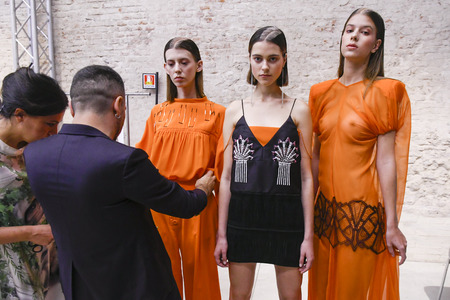 MILAN, ITALY - SEPTEMBER 20: Models are seen ahead backstage of the Alberto Zambelli show during Milan Fashion Week SpringSummer 2018 on September 20, 2017 in Milan, Italy.