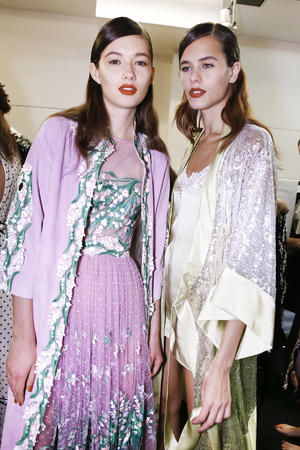 MILAN, ITALY - SEPTEMBER 23: Models are seen backstage ahead of the Blumarine show during Milan Fashion Week SpringSummer 2018 on September 23, 2017 in Milan, Italy. Editorial