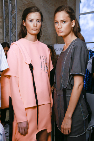 MILAN; ITALY - SEPTEMBER 24: Models are seen ahead backstage of the Au Jour Le Jour show during Milan Fashion Week SpringSummer 2018 on September 24; 2017 in Milan; Italy. Editorial