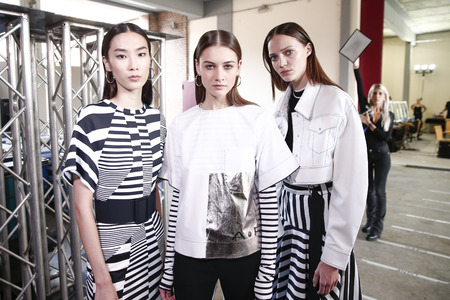 MILAN, ITALY - SEPTEMBER 23: Models are seen backstage ahead of the Aquilano Rimondi show during Milan Fashion Week SpringSummer 2018 on September 23, 2017 in Milan, Italy. Editorial