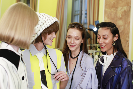 MILAN, ITALY - SEPTEMBER 21: Models are seen backstage ahead of the Arthur Arbesser show during Milan Fashion Week SpringSummer 2018 on September 21, 2017 in Milan, Italy. Editorial