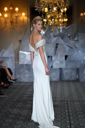 NEW YORK, NY - APRIL 12: A model walks the runway during the Mira Zwillinger Spring 2019  Bridal fashion show on April 12, 2018 in New York City.
