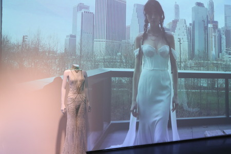 NEW YORK, NY - APRIL 13: Wedding dress presentation during the 2019 RIVINI and ALYNE Collections on April 13, 2018 in New York City.