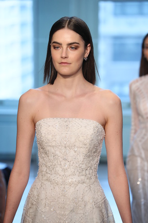 NEW YORK, NY - APRIL 13: Models walk the runway finale for the Justin Alexander Spring 2019  Bridal Fashion show on April 13, 2018 in New York City.