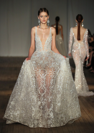 NEW YORK, NY - APRIL 13: A model walks the runway for the Berta Bridal Spring 2019  Fashion show on April 13, 2018 in New York City.