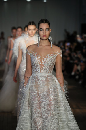 NEW YORK, NY - APRIL 13: Models walk the runway finale for the Berta Bridal Spring 2019  Fashion show on April 13, 2018 in New York City. Editorial