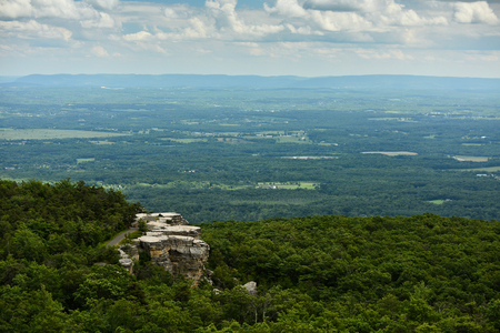 Massive rocks and view to the valley at Minnewaska State Park Reserve Upstate NY during summer time.