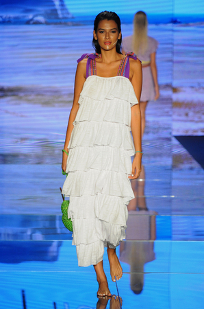 MIAMI BEACH, FL - JULY 15: A model walks the runway for Pitusa during the Paraiso Fasion Fair at The Paraiso Tent on July 15, 2018 in Miami Beach, Florida.